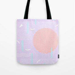 Memphis Summer Lavender Waves Tote Bag