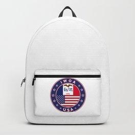 Iowa, Iowa t-shirt, Iowa sticker, circle, Iowa flag, white bg Backpack