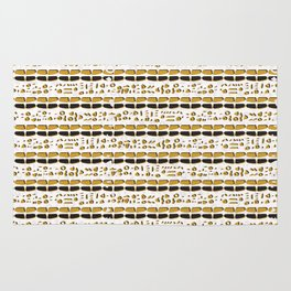 Yellow and White Abstract Drawn Cryptic Symbols Rug