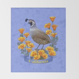 California State Bird Quail and Golden Poppy Throw Blanket