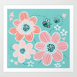 Buzzing Around the Garden Art Print
