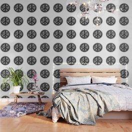 Zen Doodle Peace Symbol Black And White Wallpaper
