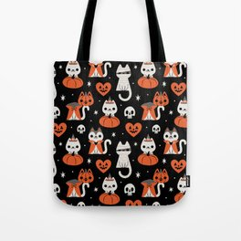 Halloween Kitties (Black) Tote Bag