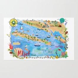 Illustrated Island Map of Mljet Rug