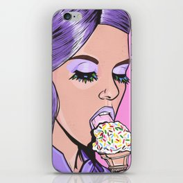 Purple Ice Cream Comic Girl iPhone Skin