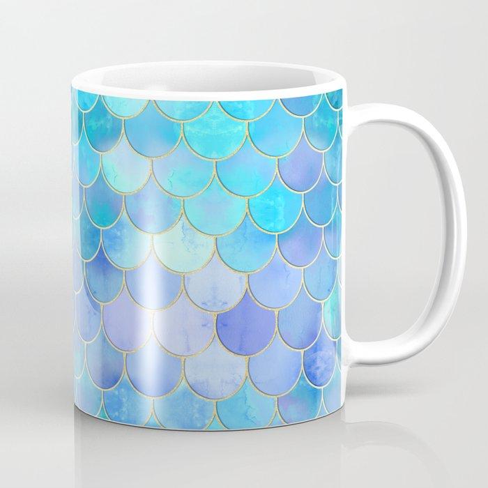 Aqua Pearlescent & Gold Mermaid Scale Pattern Coffee Mug