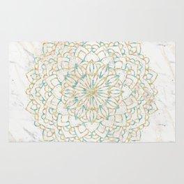 Marble Mandala Sea Shimmer Gold + Turquoise Rug