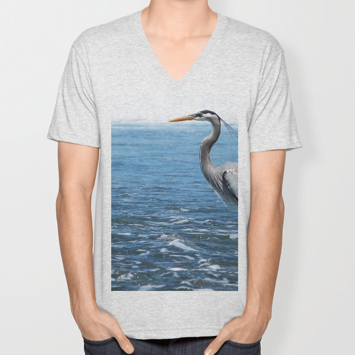 Great Blue Heron on the Pacific Coast in Costa Rica Unisex V-Neck