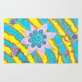 Tie-Dye Flower and Butterflies Rug