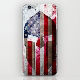 Molon Labe - Spartan Helmet Across An American Flag On Distressed Metal Sheet iPhone Skin