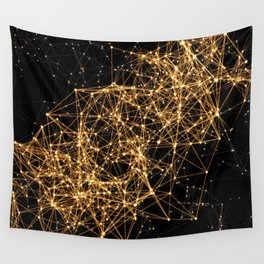 Shiny golden dots connected lines on black Wall Tapestry