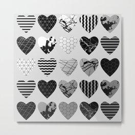 Metallic Love - Hexagon, stripes, triangles, geometric, marble, paint splat hearts! Metal Print
