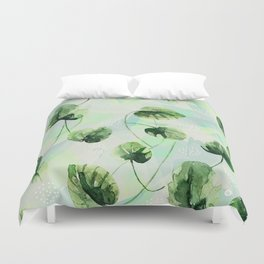 Watercolor leaves Duvet Cover