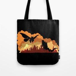 Godzilla versus Mothra cityscape Tote Bag