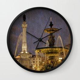 Rossio square fountain Lisbon Wall Clock