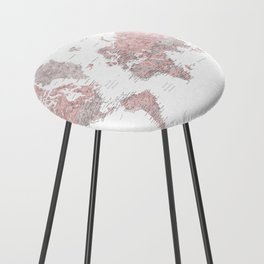 Dusty pink and grey detailed watercolor world map Counter Stool