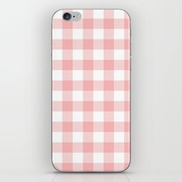 Coral Checker Gingham Plaid iPhone Skin