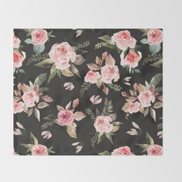 Pink flowering in the dark I Throw Blanket