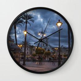 Sundown, Plaza Mayor Merida Spain Wall Clock
