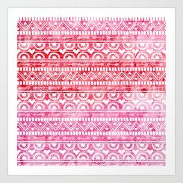 Watercolour Geometric Heart Pattern Art Print