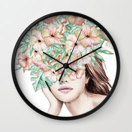 She Wore Flowers in Her Hair Island Dreams Wall Clock