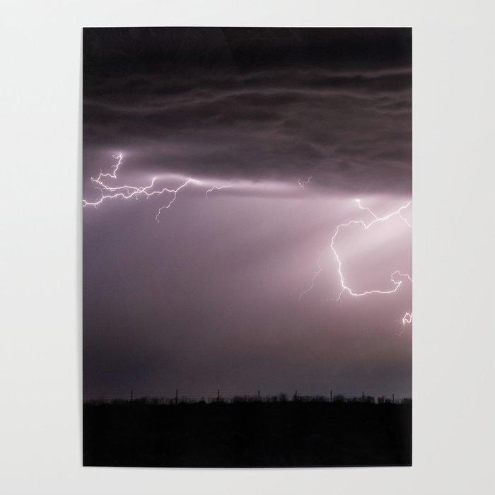 Summer Lightning Storm On The Prairie VI - Nature Landscape Poster