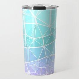 Cyan, Turquoise, and Purple Triangles Travel Mug