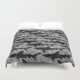 Gray and Black Shark Pattern Duvet Cover