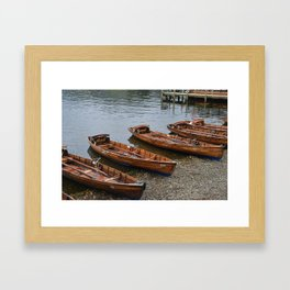 Wooden Boats on Shore, Lake Windermere Framed Art Print
