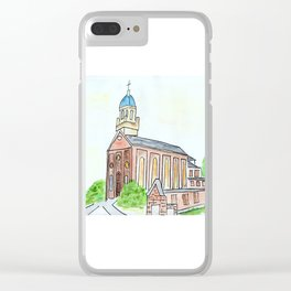 University of Dayton watercolor, UD Chapel, Dayton, OH Clear iPhone Case