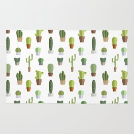Seamless pattern with various cactuses in pots Rug