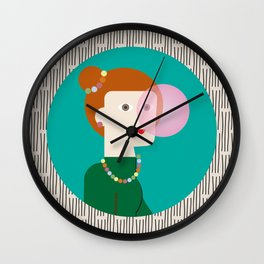The girl and the bubble gum Wall Clock
