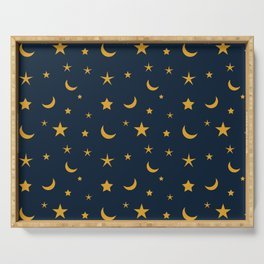 Yellow moon and star pattern on Navy blue background Serving Tray