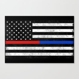 Fire Police American Flag Canvas Print