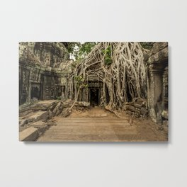 Cambodian Temple of Ta Prohm Metal Print