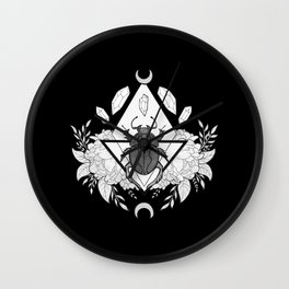 Scarab Queen // Black & White Wall Clock