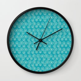 Blue Scribbles Pattern 01 Wall Clock