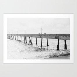 Fishing off Pacifica Pier Art Print