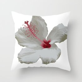 Pure White Hibiscus Tropical Flower Throw Pillow