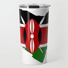 Kenya Map with Kenyan Flag Travel Mug