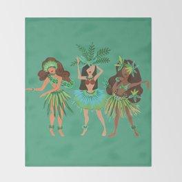 Luau Girls on Mint Throw Blanket