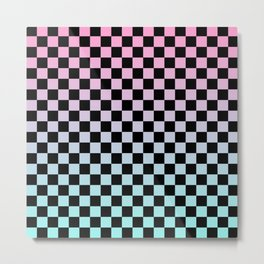 Pink and Blue Gradient Checkers Metal Print