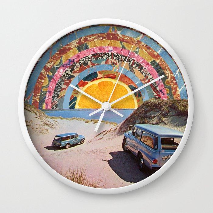 Orange sunset Wall Clock