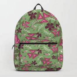 Purple Shamrock Floral Layered Pattern / Green Backpack