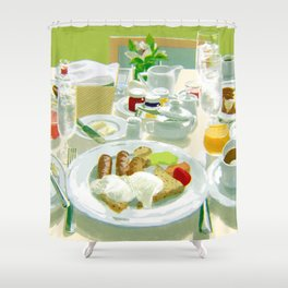 Breakfast at a Hotel Shower Curtain