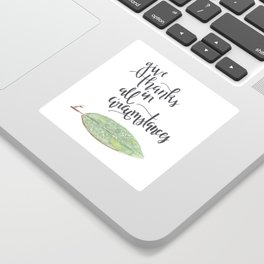 give thanks in all circumstances // watercolor bible verse leaf Sticker
