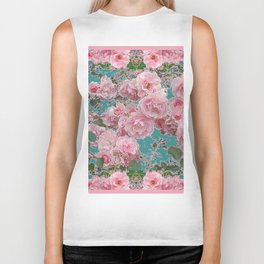 DECORATIVE PINK ROSE GARDEN & TEAL COLOR Biker Tank