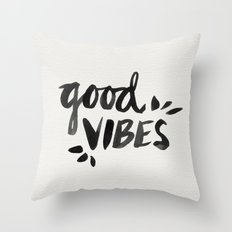 Good Vibes – Black Ink Throw Pillow
