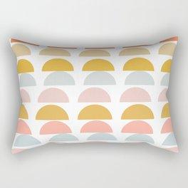 Geometric Half Circles Pattern in Earth Tones Rectangular Pillow