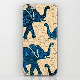 Elephant March Blue iPhone Skin